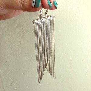 Dramatic silver fringe earrings